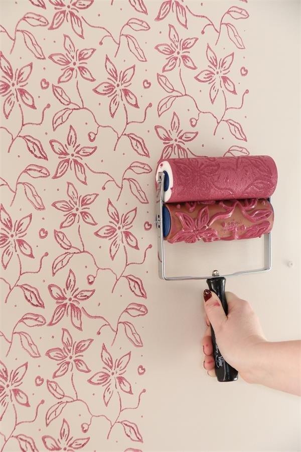 jeanne d arc living schablonen roller large flower. Black Bedroom Furniture Sets. Home Design Ideas