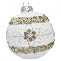 Greengate Weihnachtskugel Laurie glitter white / gold