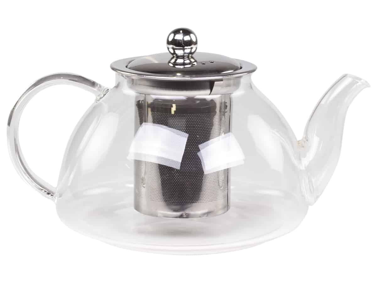 chic antique teekanne aus glas mit sieb. Black Bedroom Furniture Sets. Home Design Ideas