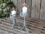 Chic Antique Windlicht auf Fuss antique zink