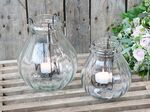 Chic Antique Windlicht Glas mit Kerzenhalter
