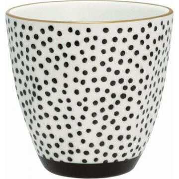 Greengate Becher Dot black mit Goldrand