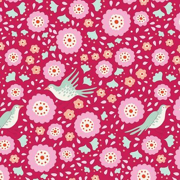 Tilda Stoff Bird Pond Lovebirds Raspberry