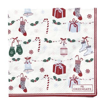 Greengate Papier-Servietten klein Jingle Bell white
