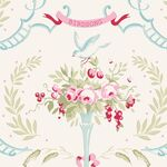 Tilda Stoff Old Rose Birdsong dove white