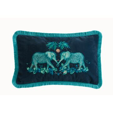 Emma J Shipley Kissen Zambezi rectangle teal bestickt 30x50cm