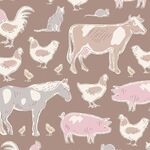 Tilda Stoff Tiny Farm Animals, brown