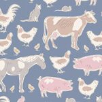 Tilda Stoff Tiny Farm Animals, blue
