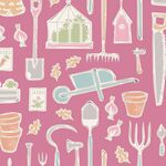 Tilda Stoff Tiny Farm Tools, pink