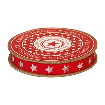 Greengate Geschenkband red with silver star
