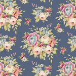 Tilda Fat Quarter Garden Flowers Dark Blue