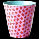 Rice Melamin Becher medium Star print red