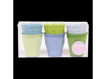 Rice Melamin Becher - Set Curved blau-grün uni, 6er Set