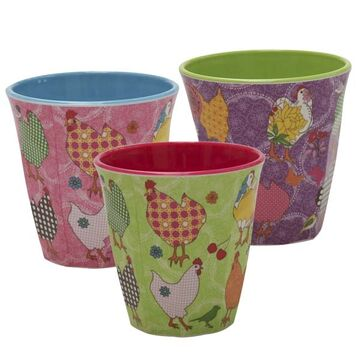 Rice Melamin Becher medium Hens, 3er Set