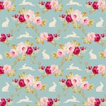 Tilda Fat Quarter Rabbit & Roses Teal