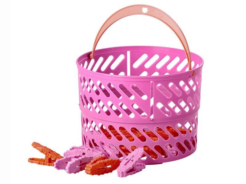 Rice Wäscheklammern im Korb pink